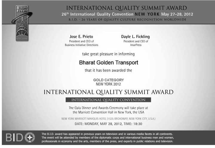 WE WON BID INTERNATIONAL QUALITY SUMMIT AWARD